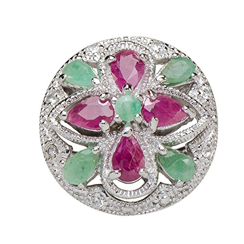 Gorgeous Natural Emerald African Ruby 4 Leaf Lucky Ring 925 Silver ()