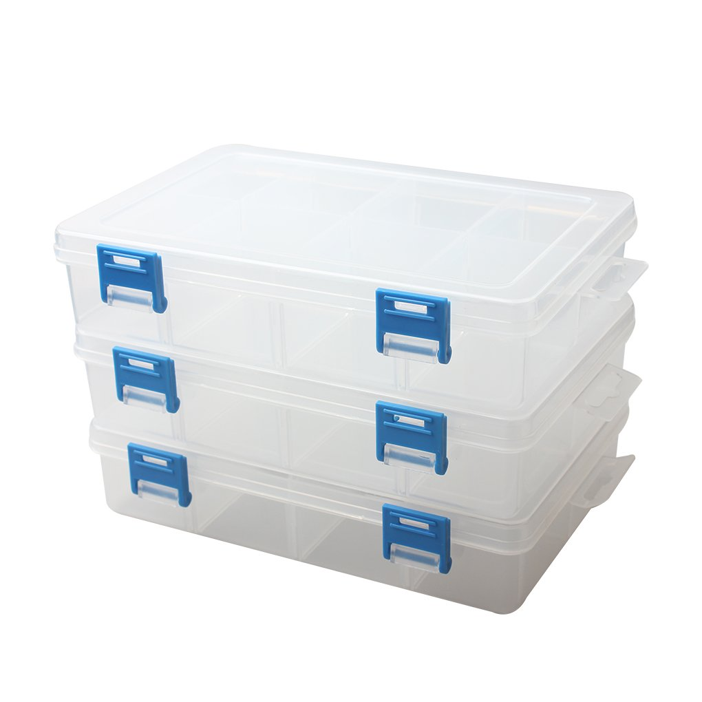 BangQiao 3 Pack Plastic Adjustable Storage Divider Box,Plastic Bead Organizer Box with 8-grids,Clear