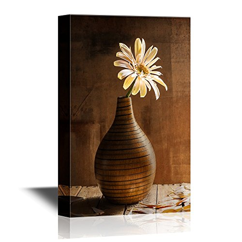 (wall26 - Canvas Wall Art - Still Life with White Gerbera in a Brown Vase - Gallery Wrap Modern Home Decor | Ready to Hang - 16x24 inches)