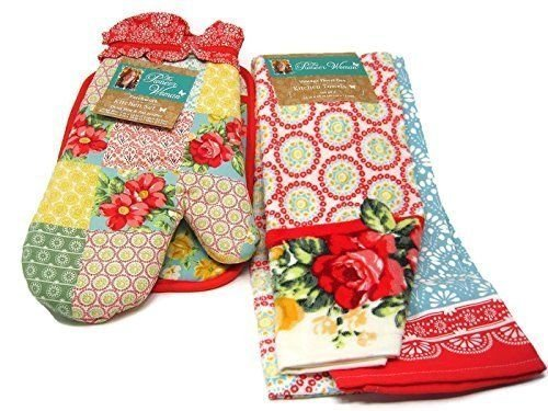Pioneer Woman Patchwork Kitchen Set Oven Mitt, Pot Holder and Vintage Floral Geo Kitchen Towels (Holders Vintage Pot)
