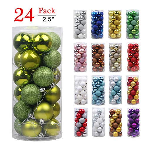 Christmas Balls Ornaments for Xmas Tree - Shatterproof Christmas Tree Decorations Large Hanging Ball Lemon Green 2.5