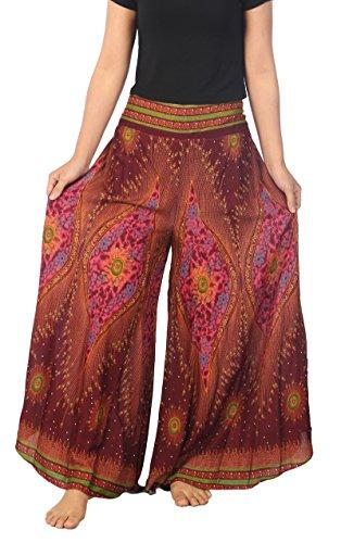 Lannaclothesdesign Womens Lounge Palazzo Pants Wide Legs S M L XL Sizes (S, Burgundy Flower Eye)