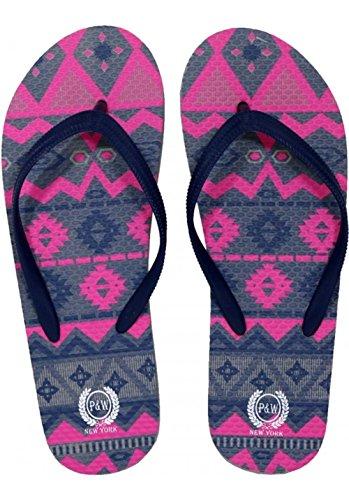Beaute Fashion Trendy Ugly Christmas Sweater Flip Flops Tribal Thong Sandal Slipper (Medium (7-8), Navy Grey & Pink)