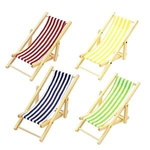 FOTN Premium Quality Miniatura Dollhouse Pieghevoli in Legno Beach Chair Chaise Longue Giocattoli 1 spesavip