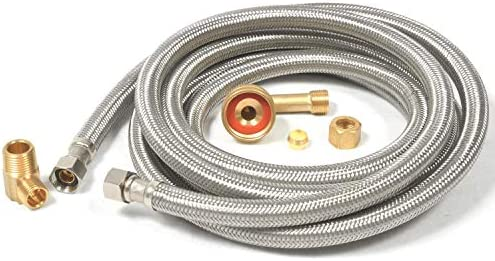 Dishwasher Hose Stainless Steel Braided Supply Line Kit Includes Hose 90 Degree Brass Elbows 10 Foot Amazon Sg Home