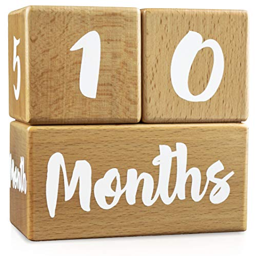 Growing Gifts Baby Milestone Blocks for Boys and Girls (3 Pc. Set) | 1-52 Weekly, Monthly, First Year, and Yearly Photo Props | Real, Natural Wood Keepsakes | Shower, Newborn, Infant | UPDATED PRODUCT (Best Baby Products For Newborns)