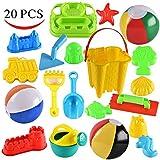Joyin Toy 20 Pieces Beach Sand Toys Set with 10 Kinetic Sand Molds, 3 Beach Balls, Castle Bucket, Brick Maker, Trowel, Shovel and Rake in Zippered Bag