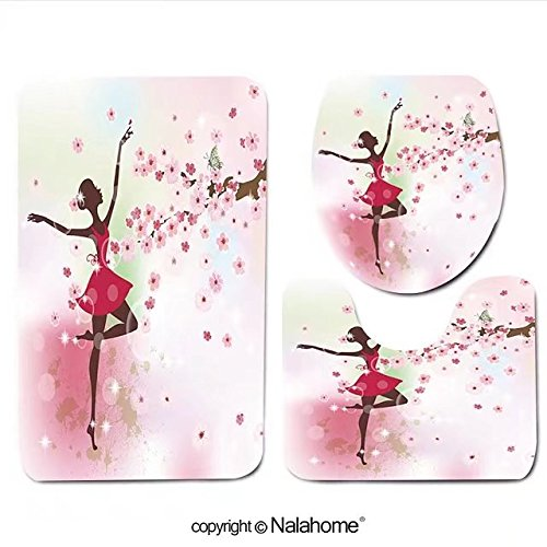 3 Piece Bath Rug Set Nalahome design-132852674 Beautiful ballerina in the flowers Bathroom Rug(19.29
