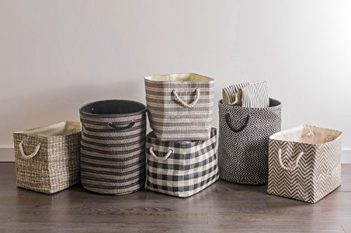 """DII Woven Paper Basket or Bin, Collapsible & Convenient Home Organization Solution for Bedroom, Bathroom, Dorm or Laundry(Medium Round - 14x17""""), Black & White Diamond Basketweave by DII (Image #6)"""