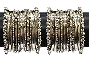 YouBella Jewellery Traditional Silver Plated Oxidized Bracelet Bangles Set for Girls and Women