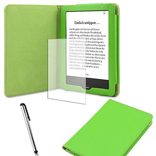 Schutz-Hülle-Tasche-Cover-Tolino-Vision-2 und 3-HD-Ebook-Case in verschiedenen Farben mit Ruhemodus und praktischem Magnetverschluss und passgenauer Display-Schutz-Folie Markenqualität und Pen von NAUC®, Farben:Grün