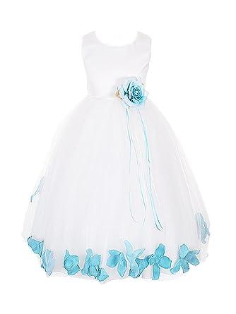 82782414163 Kids Dream White Satin Bodice Skirt with Petal Flower Girl Dress-White  Turquoise-