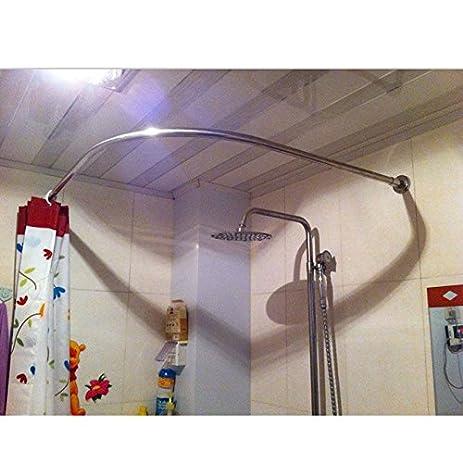 stretchable 304 stainless l shaped bathroom bathtub corner shower curtain rod rack 70100x70