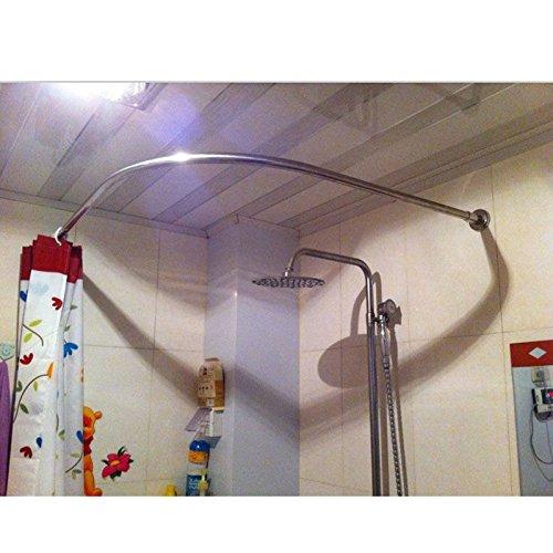 Stretchable 304 Stainless L Shaped Bathroom Bathtub Corner Shower Curtain Rod Rack 70-100x70-100CM/27.55'-39.37'x27.55'-39.37'