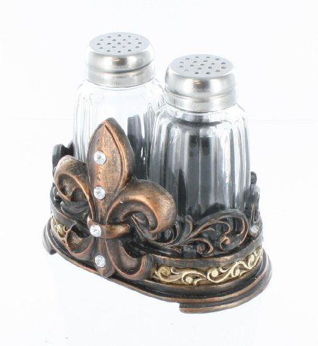 - Fleur De Lis Salt & Pepper Shaker Set with Glass Shakers - Tuscan Creole Decor