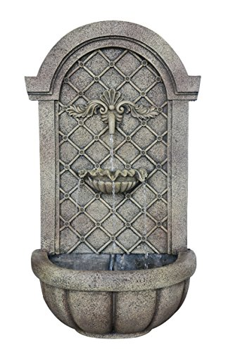 The Manchester - Outdoor Wall Fountain - Florentine Stone Finish - Water Feature for Garden, Patio and Landscape Enhancement by Harmony Fountains
