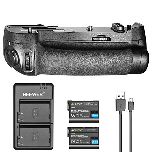 Neewer Battery Grip Replacement for Nikon MB-D17 for Nikon D500 with 2-Pack 7.0V 2100mAh Nikon EN-EL15 Replacement Rechargeable Li-ion Battery and Dual Charger (Black)