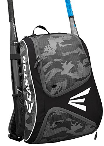 EASTON E110BP Bat & Equipment Backpack Bag | Baseball Softball | 2019 | Black | 2 Bat Sleeves | Smart Gear Storage | Vented Shoe Pocket | Rubberized Zipper Pulls | Fence Hook