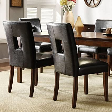 Mendoza Modern Cherry Finish Black Faux Leather Keyhole Back Dining Room  Chairs (Set of 2)