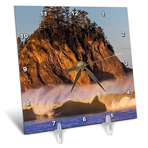 (3dRose Danita Delimont - Washington - Sea Stacks and Waves on Rialto Beach, Washington State, USA - 6x6 Desk Clock (dc_315130_1))