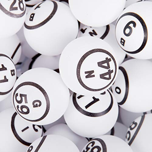 MR CHIPS Professional Ping Pong Balls/Bingo Balls for Manual Bingo Cages - Double Numbered and Matte Finish White Color