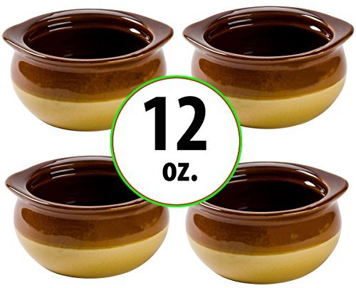 Brown and Ivory Porcelain Onion Soup Crock Bowl, Healthy Portion Size, 12 Ounce, Set of (4 Onion Soup Bowls)
