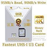 64GB Micro SDXC SD U3 Card Plus Adapter Pack. Amplim Pro Class 10 UHS-I Extreme MicroSDXC 95MB/s Read, 90MB/s Write Ultra High Speed HD UHD 4K Video. Internal/External MicroSD Storage Flash TF Memory