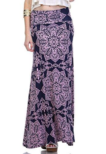 LeggingsQueen Women's High Waisted Rayon Spandex Printed Maxi Skirt (S2503-NV+PK, X-Large)