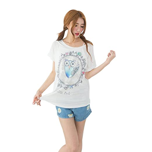 DondPO Sexy Womens Fashion Loose Cotton Batwing Sleeve Print T-Shirt Summer Casual Tee Blouse