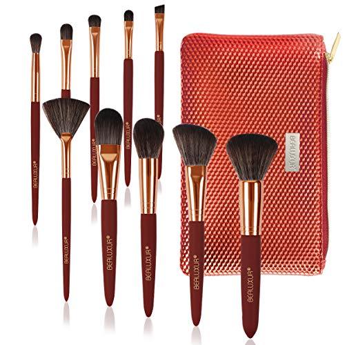 Bealuxur Makeup Brush Set, Premium Synthetic Fiber Make Up Brush Kit Powder Foundation Blending Eyeliner Face Cosmetics Concealers Eye Shadows Brushes Tools with PU Leather Travel Makeup Bag (10pcs)