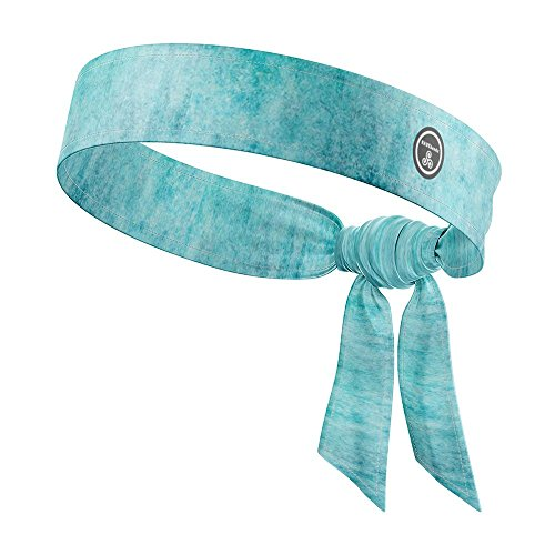 RAVEbandz! All Star Tie-On Stretch Headband, Moisture Wicking Tie-Back - Cute, Solid & Colorful Fashion Designs - for Outdoor Sports Athletic Workouts & Style (Spirit)