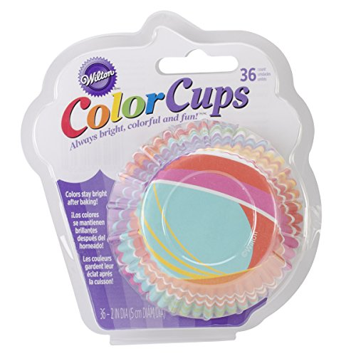 Wilton 415-0626 36-Pack Color Baking Cup, Standard, Stripes Rainbow