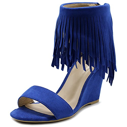 Fringe Shoes (Ollio Womens Shoe Fringe High Heel Wedge Sandal HW03(7 B(M) US, Blue))