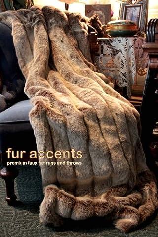 Fur Accents Faux Fur Throw Blanket Tan Frosted Ribbed Mink Fox Faux Fur 60''x70'' (Fox Fur Rug)