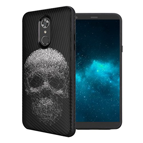 Capsule Case Compatible with LG Stylo 4 Plus, LG Stylo 4, LG Q Stylus [Embossed Diagonal Lines Hybrid Dual Layer Slim Armor Black Case] for LG Stylo 4 - (Lined Skull) Black Skull Protector Case