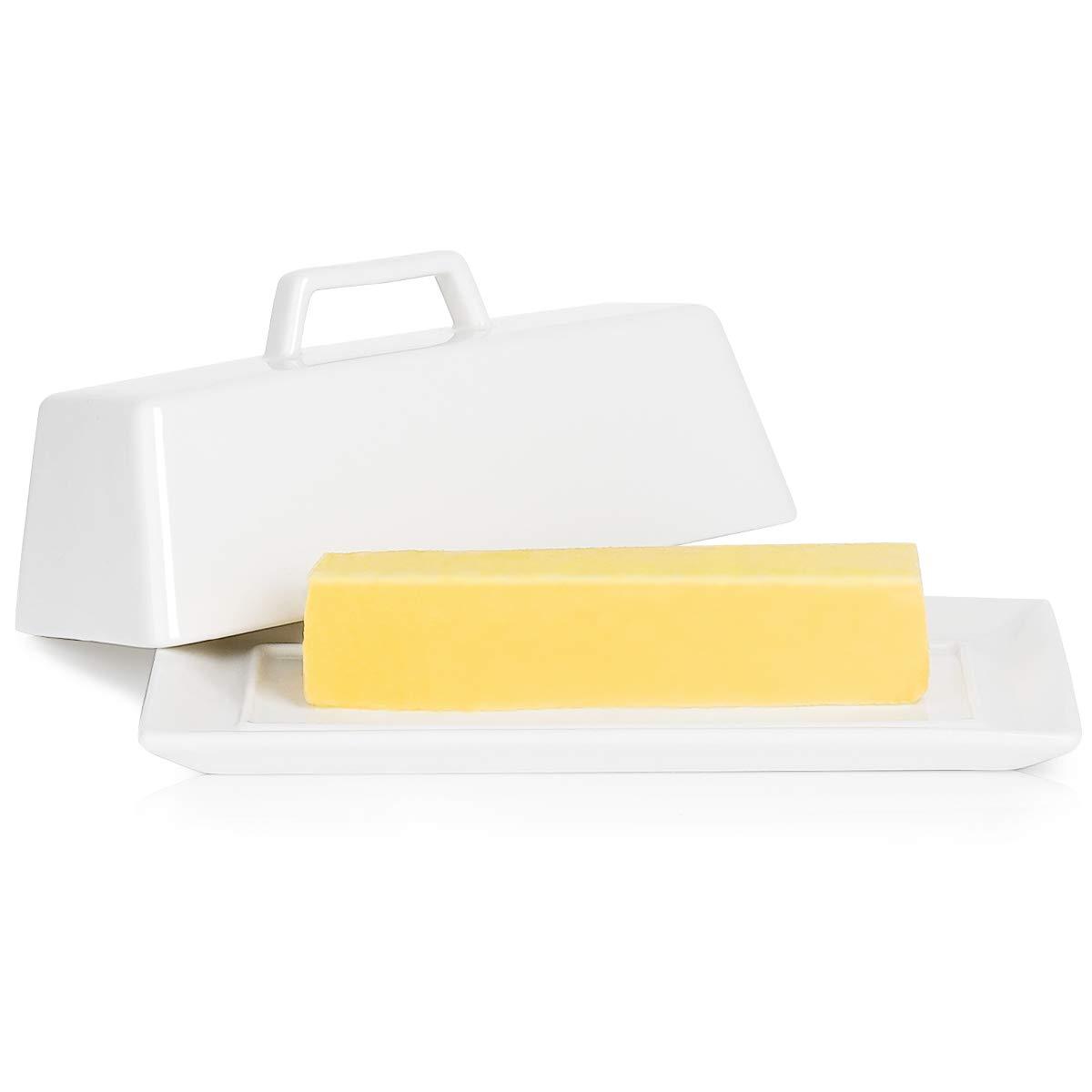 Porcelain Butter Dish with Lid, Covered Butter Keeper - Handle Design - Dishwasher Safe, White - Better Butter & Beyond