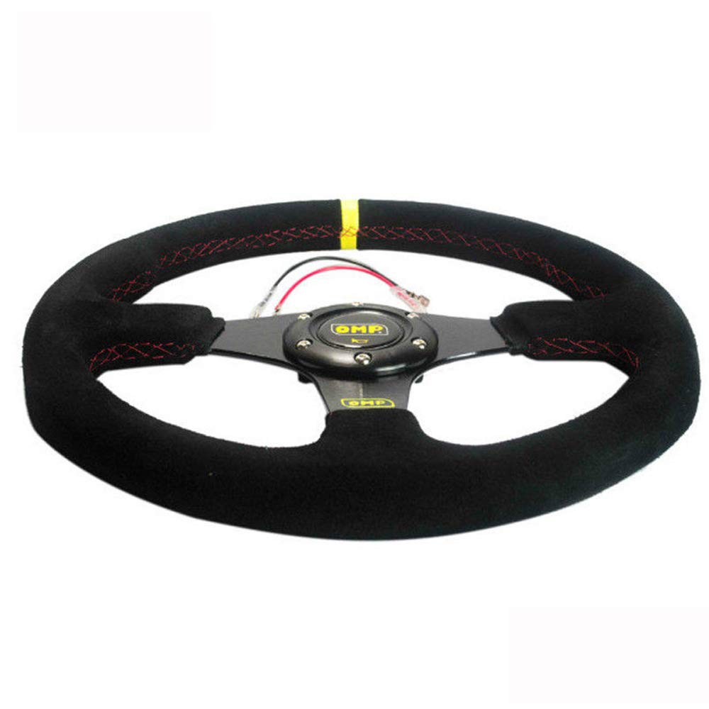 Volante Plano de Piel de Ante de 350 mm con Caja Negra Romsion Vehicle Accessories