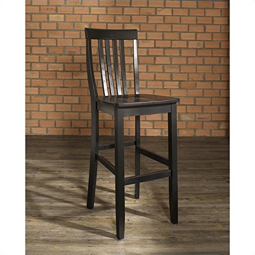 Crosley Furniture CF500330-BK Schoolhouse Bar Stool (Set of 2), 30-inch, Black ()