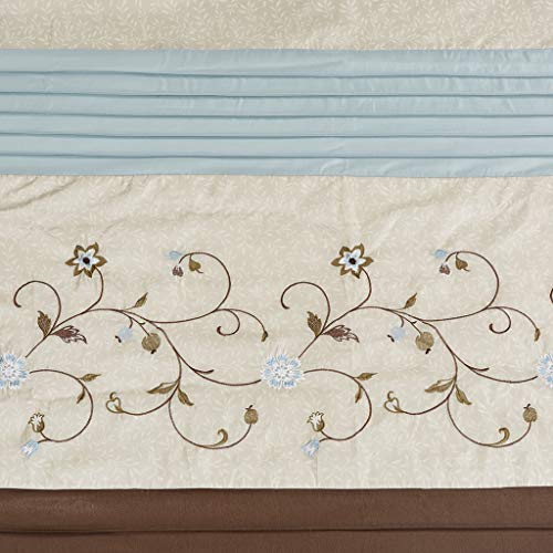 Madison Park Serene Faux Silk Embroidered Floral Shower Curtain Blue 72x72