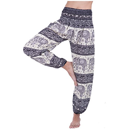 Rita & Risa Women's Bohemian Elephants Stripes Casual Yoga Harem Pants (Nerd Outfit For Guys)