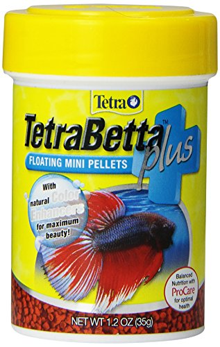 (TetraBetta PLUS Floating Mini Pellets, Fish Food With Natural Color Enhancer )