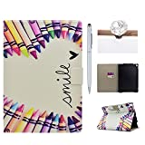 Felfy iPad Pro 10.5 inch Hard Inner Case, Cover for iPad Pro(10.5 2017),Premium Leather Ultra Thin Lightweight Flower and Cute Cartoon Pattern Series Cover Case, Wallet Flip Cover with Magnetic Closure Stand Function Kickstand Folding Shell Card Slots Hard Back Case for Apple iPad Pro 10.5 inch 2017 + 1 Silver Stylus Pen + 1 Dust Plug.Pencil