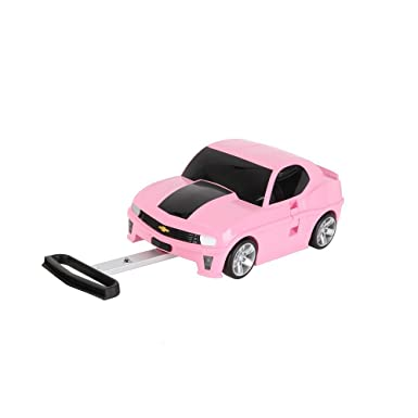 kids pink car carry on suitcase hardtop girls cars camaro themed luggage