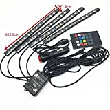 Car Interior Atmosphere Lamp Set Colorful Light Portable 4-Piece 48 LED Lamp Kit RGB Gessppo