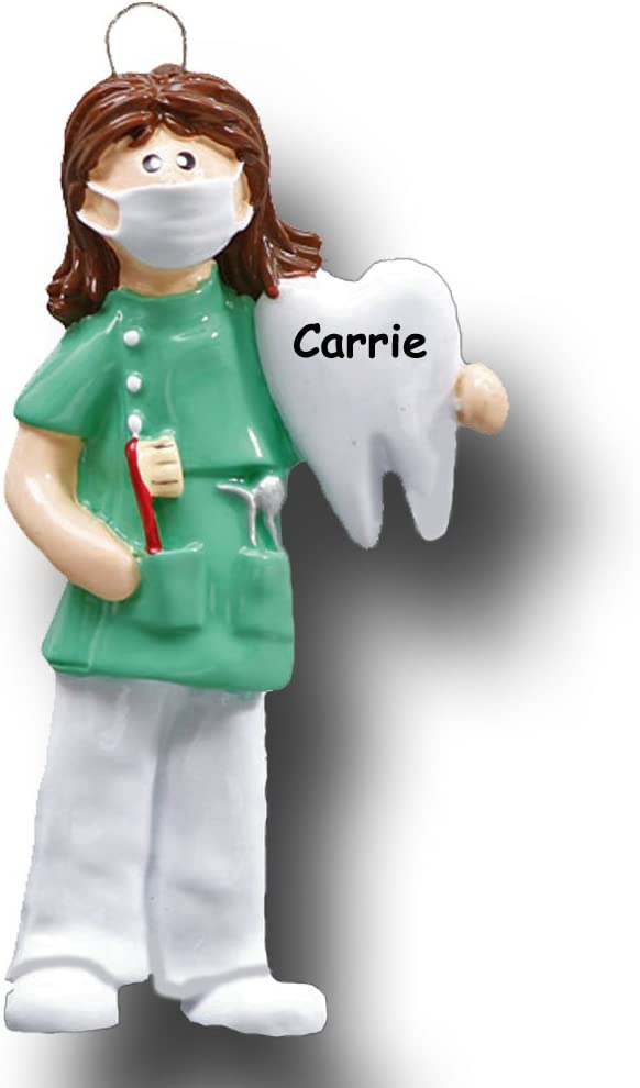 Personalized Female Dental Hygienist Christmas Ornament Dentist Dental Assistant in Scrubs Holding Tooth and Toothbrush Gift - Your Choice of Custom Name