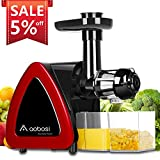 Aobosi Slow Masticating Juicer Extractor Compact Cold Press Juicer Machine with Portable Handle/Quiet Motor/Reverse Function/Juice Jug and Clean Brush for High Nutrient Fruit & Vegetable Juice