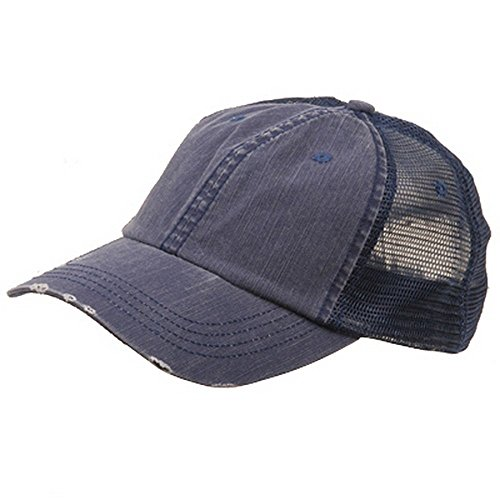 Wholesale Low Profile Unstructured Herringbone Cotton Twill Distressed Mesh Trucker Caps (Navy) - - Wholesale Mesh