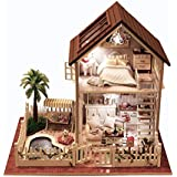 Rylai 3D Puzzles Wooden Handmade Miniature Dollhouse DIY Kit w/ Light -Paris Apartment Series