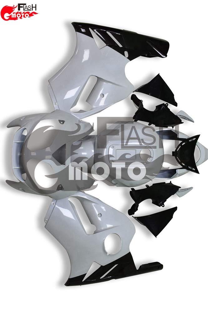 FlashMoto kawasaki 川崎 カワサキ ZX12R 2002 2003 2004 2005 2006用フェアリング 塗装済 オートバイ用射出成型ABS樹脂ボディワークのフェアリングキットセット (ホワイト,ブラック)   B07L89B3BF