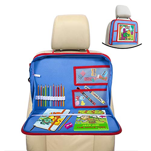 - lebogner Kids Car Seat Travel Tray, Backseat iPad Or Tablet Holder, Carry Bag with Storage Organizer Mesh Pockets and Shoulder Strap, On The Go Activity Lap Desk to Play, Eat, Or A Writing Surface